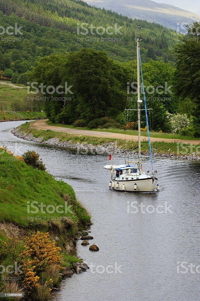 Sailboat at the river stock photo