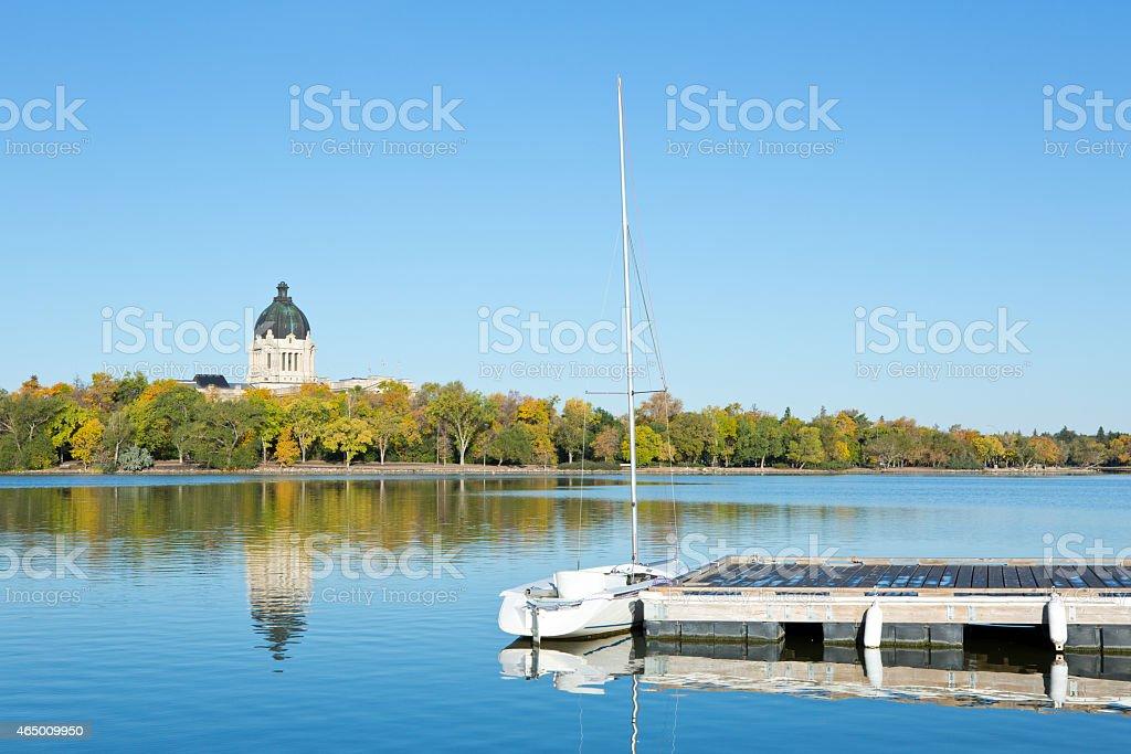 Sailboat at Wascana Marina on Wascana Lake in Regina Saskatchewan stock photo