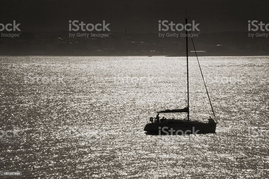 Sailboat backlit. stock photo