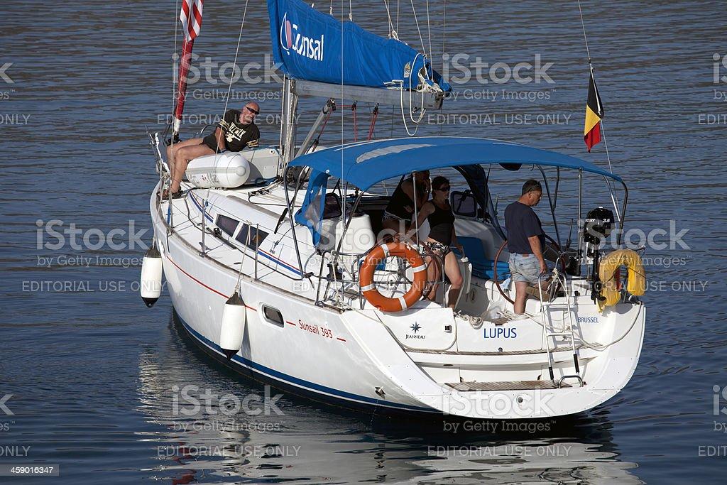 Sailboat Berthing Dock at Aegean Sea royalty-free stock photo