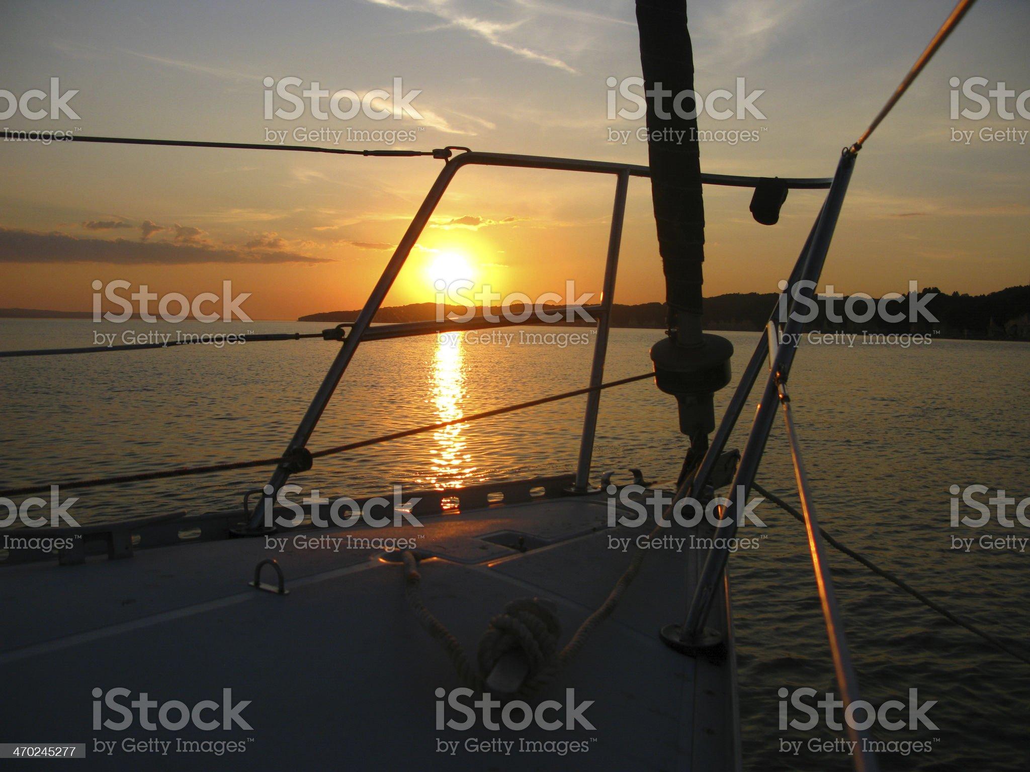 Sailboat Bow Sunset royalty-free stock photo