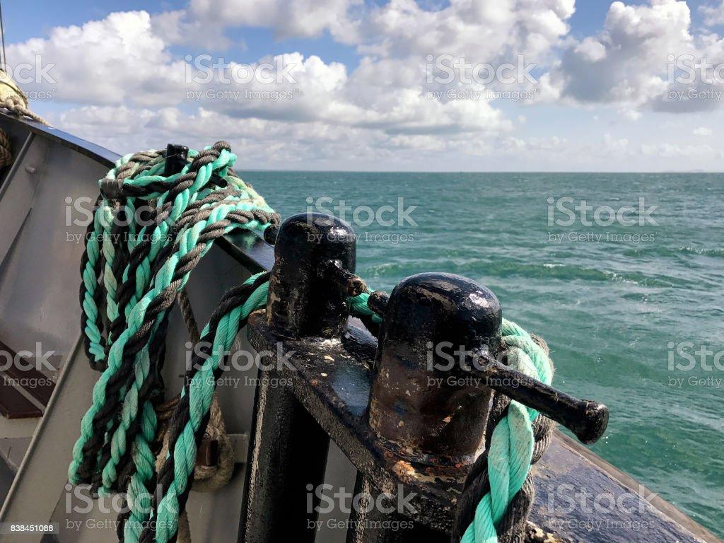 Sailboat Deck Horizon 2 stock photo