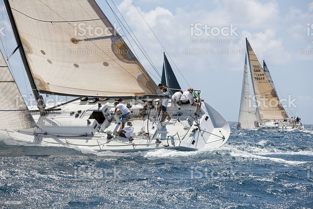 sailboat 'Falcon' racing in 2014 St. Thomas International Regatta stock photo