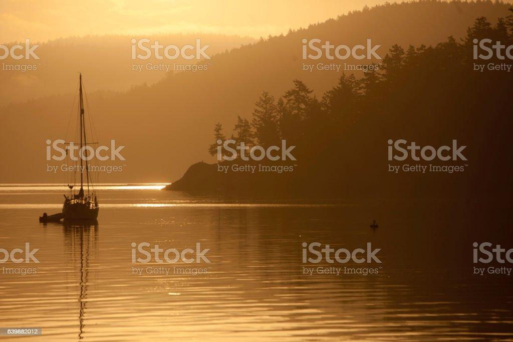 Sailboat from Lopez Island stock photo