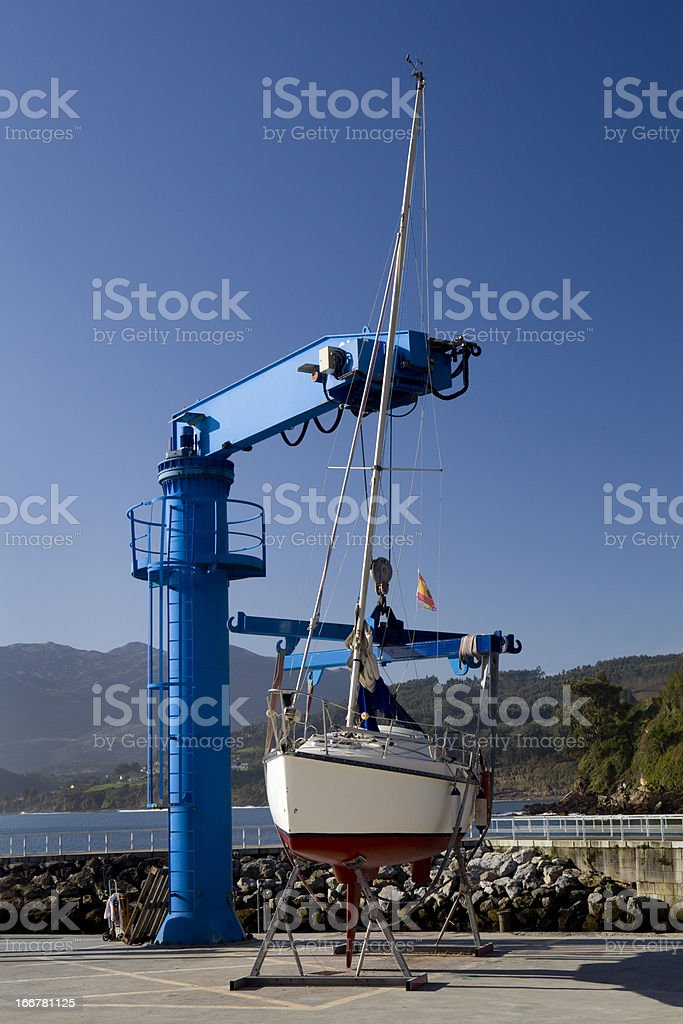 Sailboat hanging royalty-free stock photo