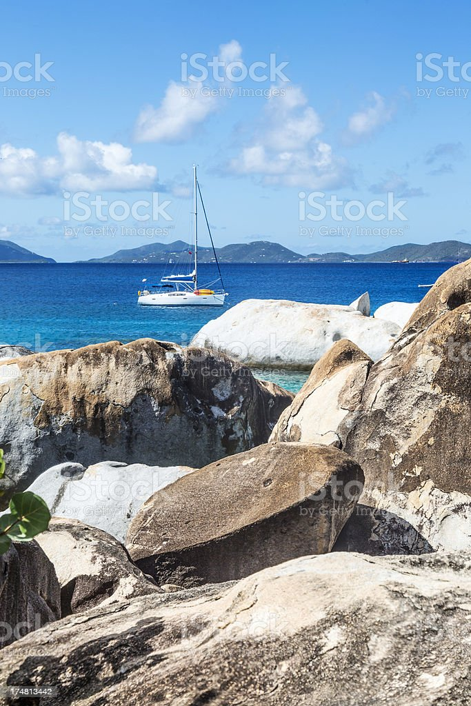 Sailboat in a Caribbean Anchorage royalty-free stock photo