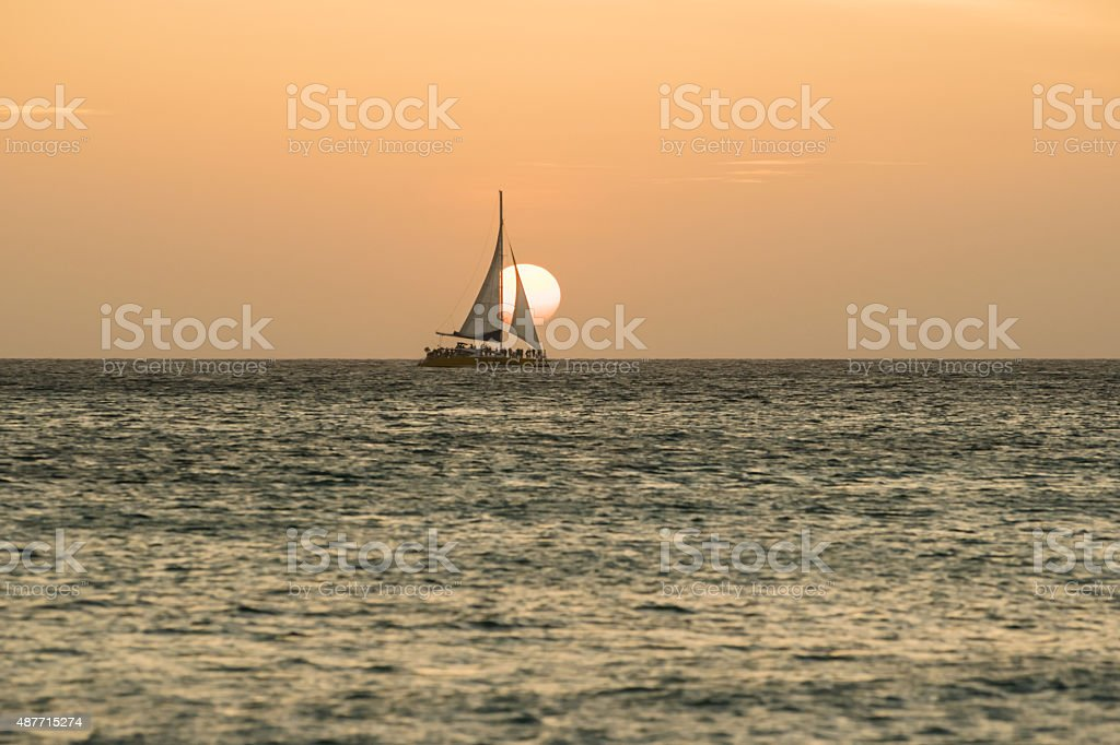 Sailboat in Aruba stock photo