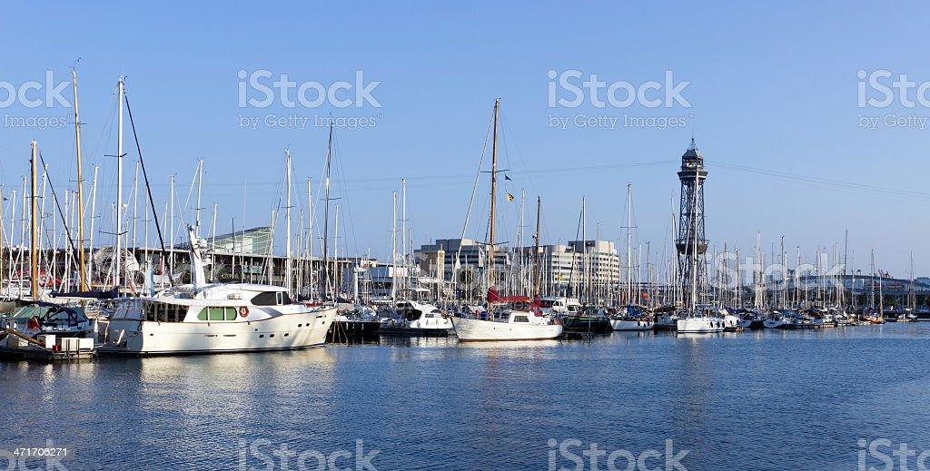 Sailboat in Barcelona, Spain stock photo