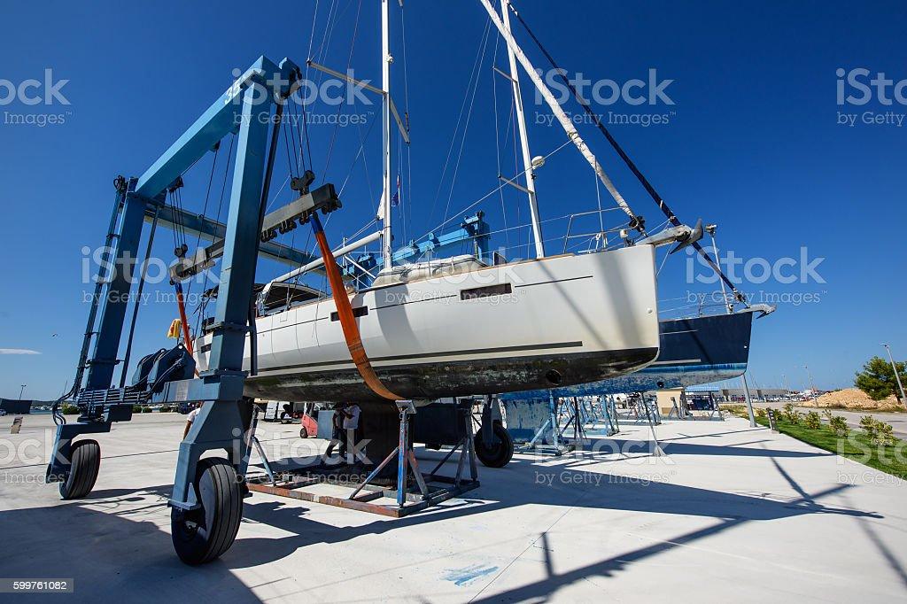 Sailboat in dry dock stock photo