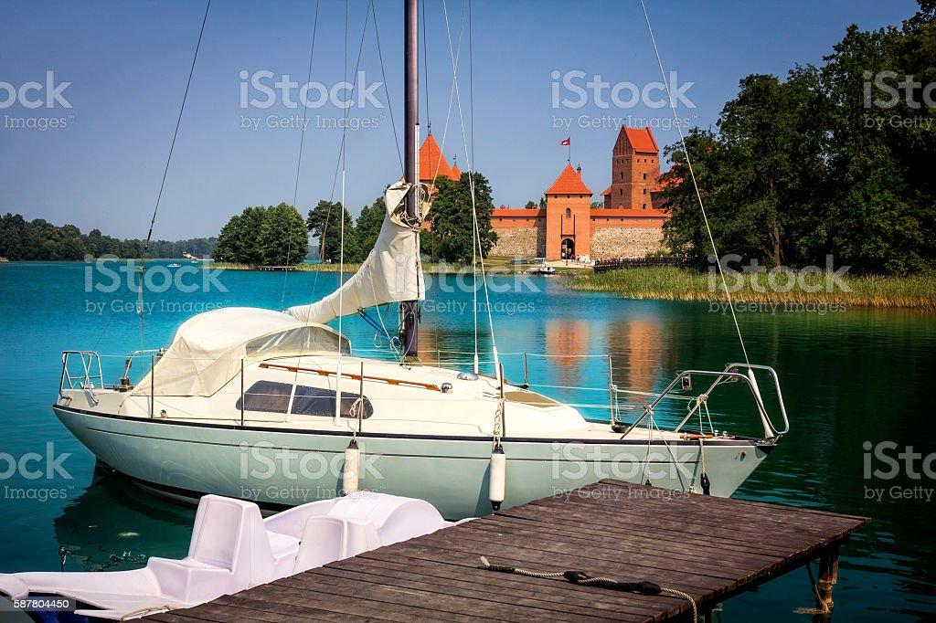 Sailboat in Galve Lake in Trakai, Lithuania, Europe stock photo