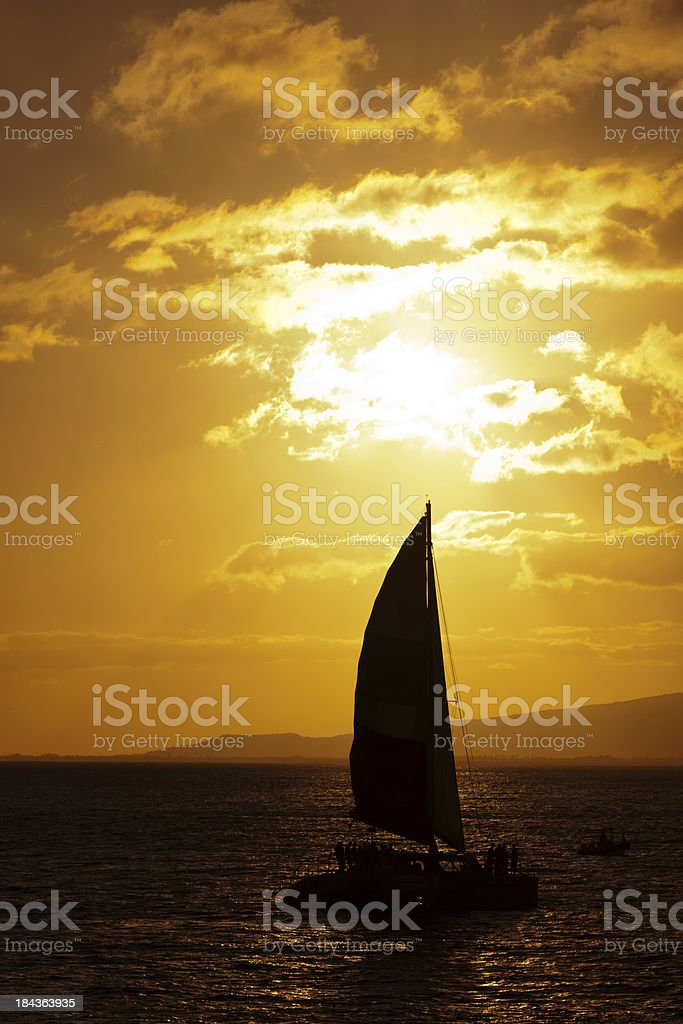 Sailboat in Hawaii Sunset royalty-free stock photo