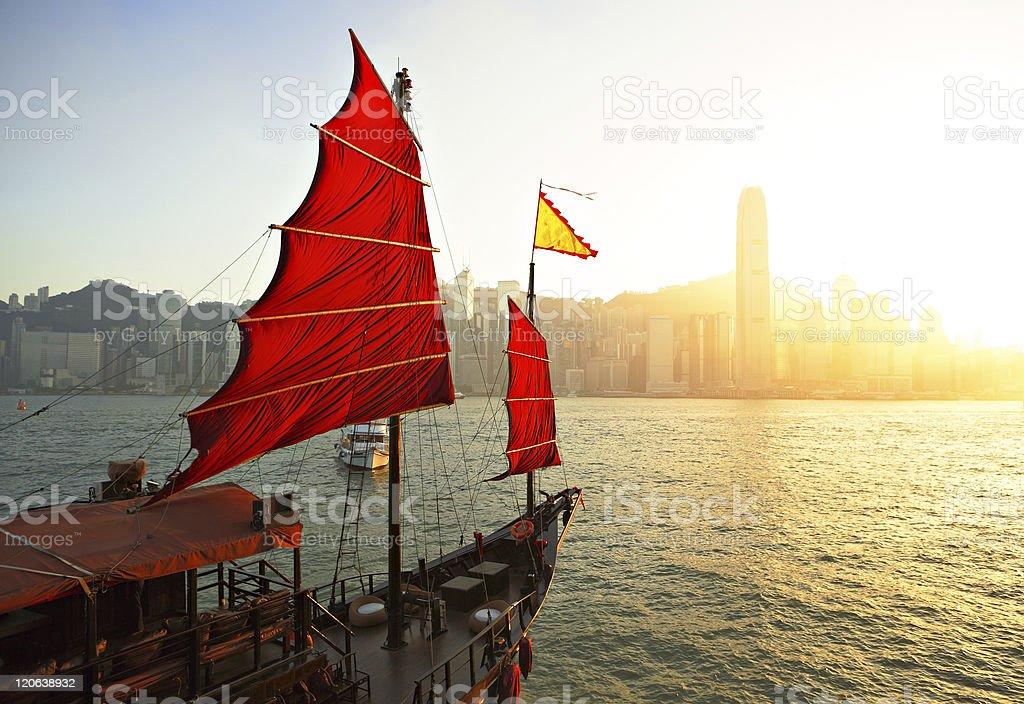 sailboat in Hong Kong harbor stock photo