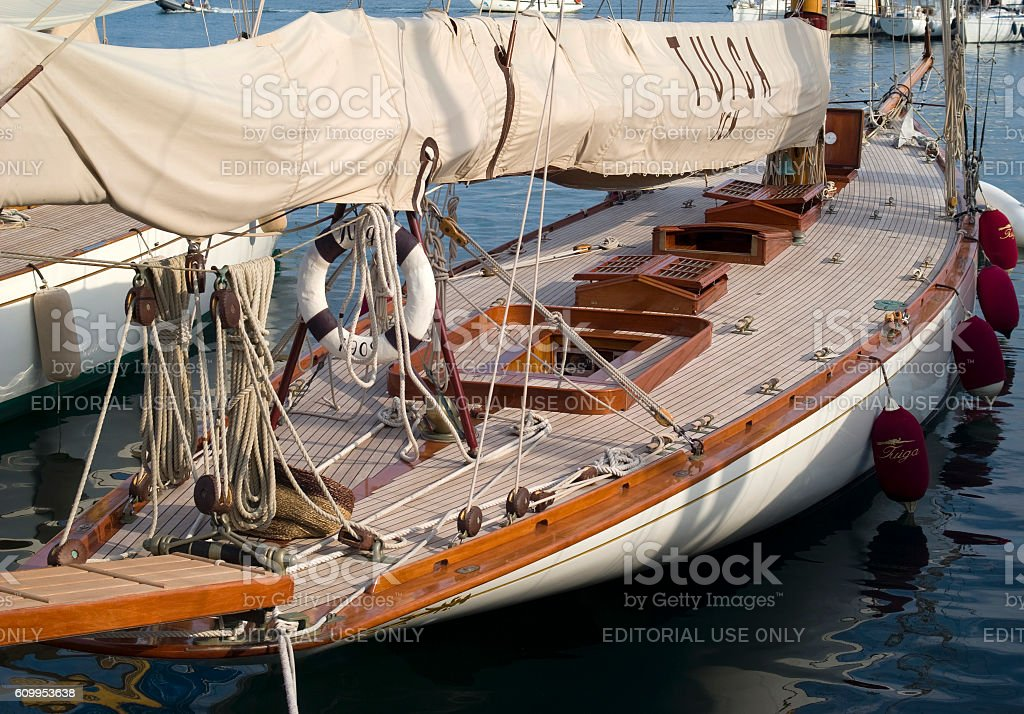 Sailboat in old style stock photo