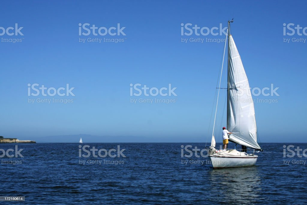 Sailboat in Pacific royalty-free stock photo