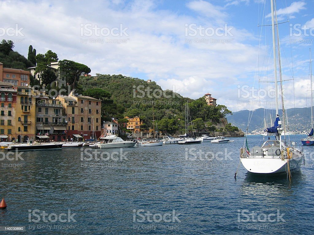 Sailboat in Portofino harbor 1 royalty-free stock photo