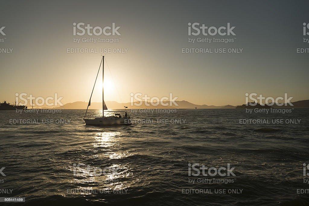 Sailboat in San Francisco royalty-free stock photo
