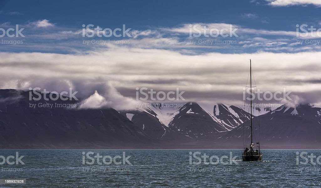 Sailboat in the Arctic royalty-free stock photo