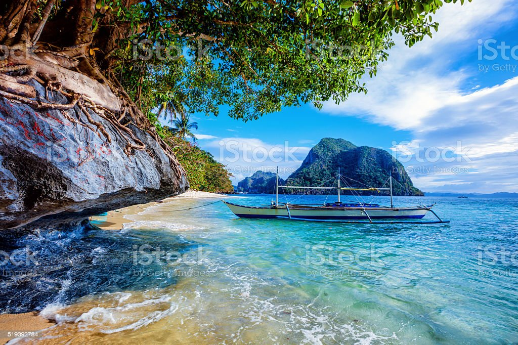 Sailboat in the Philippines stock photo