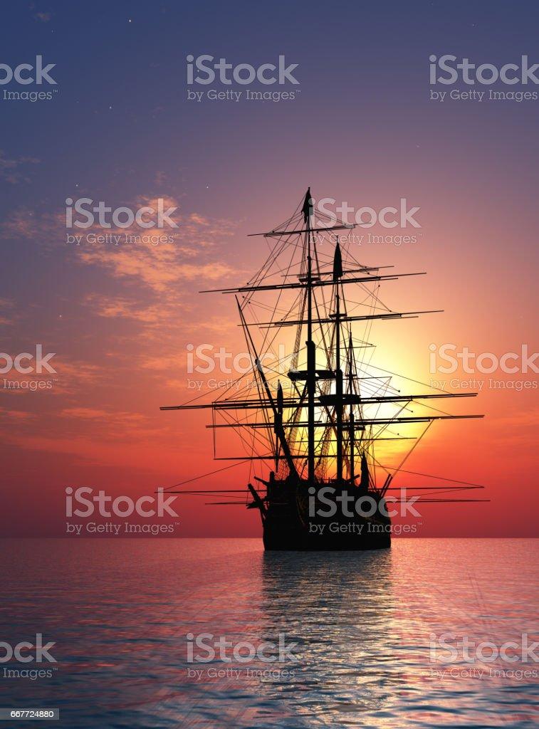 Sailboat in the sea. stock photo
