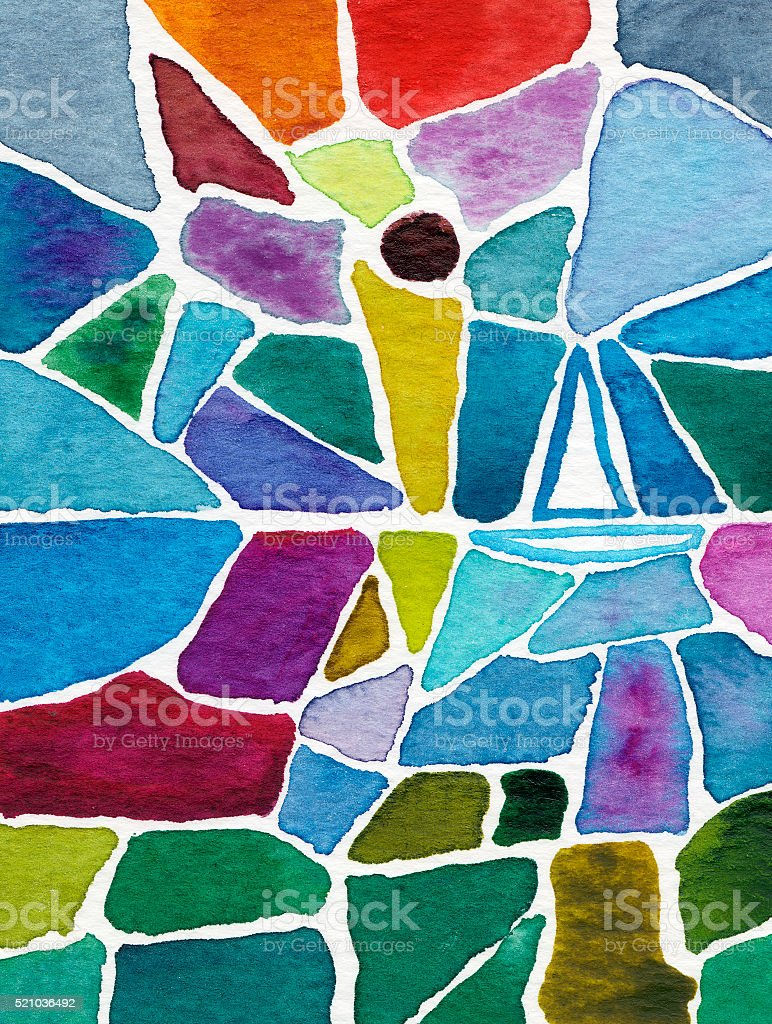 sailboat in watercolor mosaic painting stock photo