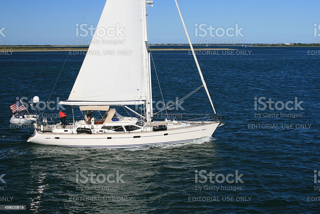 Sailboat is sailing in Nantucket Sound. royalty-free stock photo