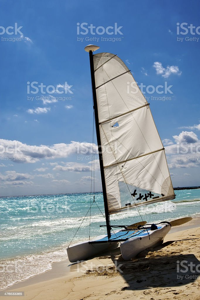 Sailboat is wating for sailing stock photo