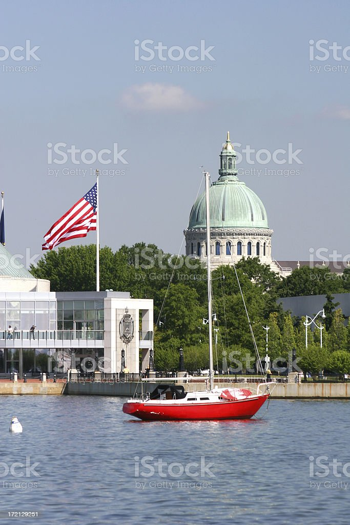 Sailboat moored off Capitol building in Annapolis royalty-free stock photo