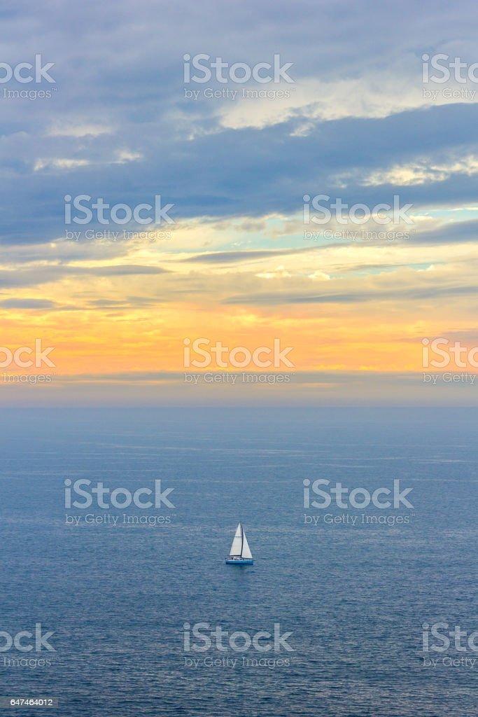Sailboat near Crozon stock photo