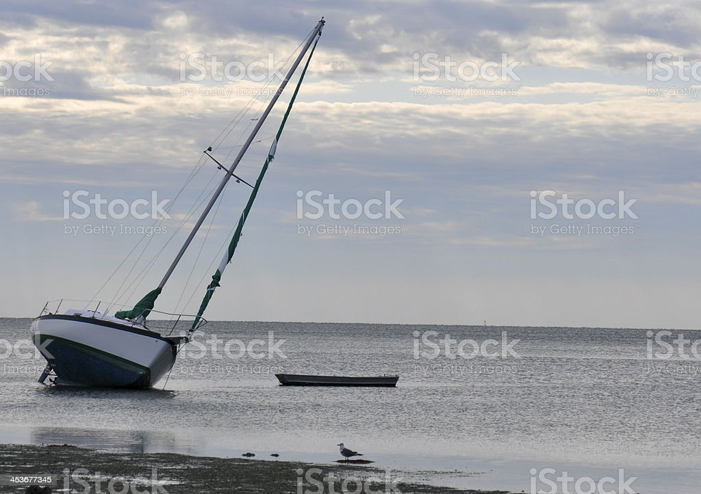 Sailboat on a Sandbar stock photo