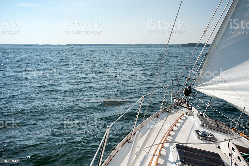 Sailboat on a sunny day stock photo