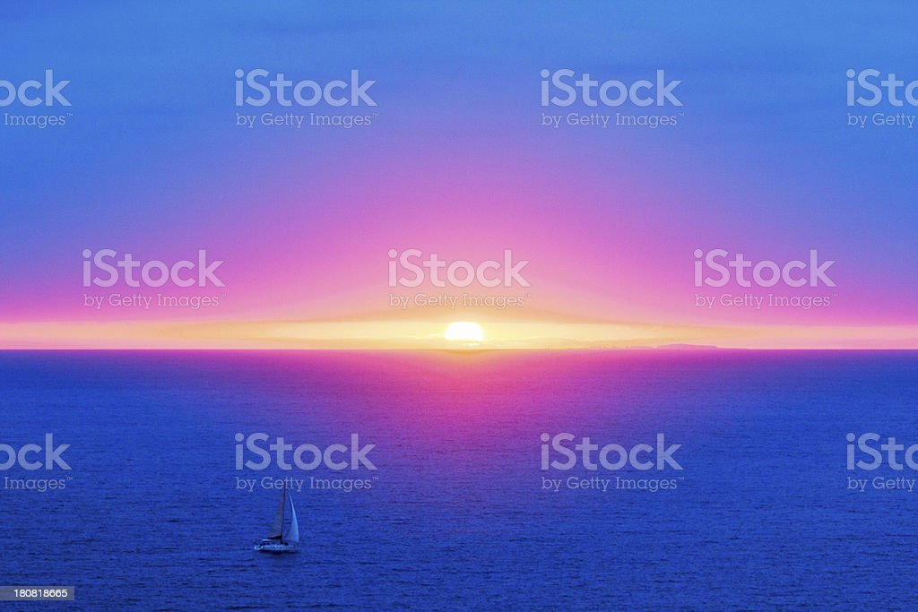 Sailboat on Bay of Banderas at Sunset royalty-free stock photo