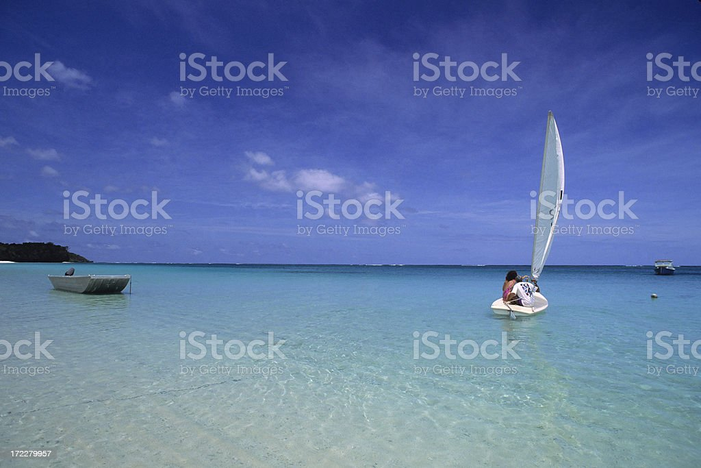 Sailboat On Crystal Blue Water royalty-free stock photo