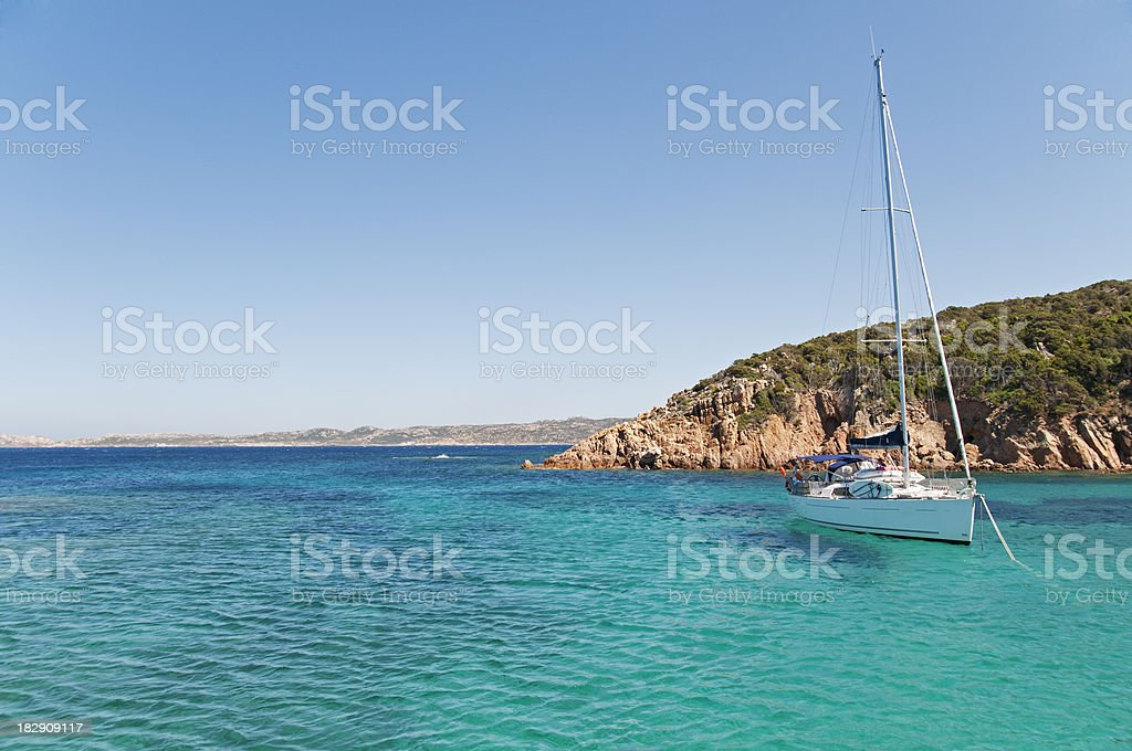 Sailboat on crystal water royalty-free stock photo