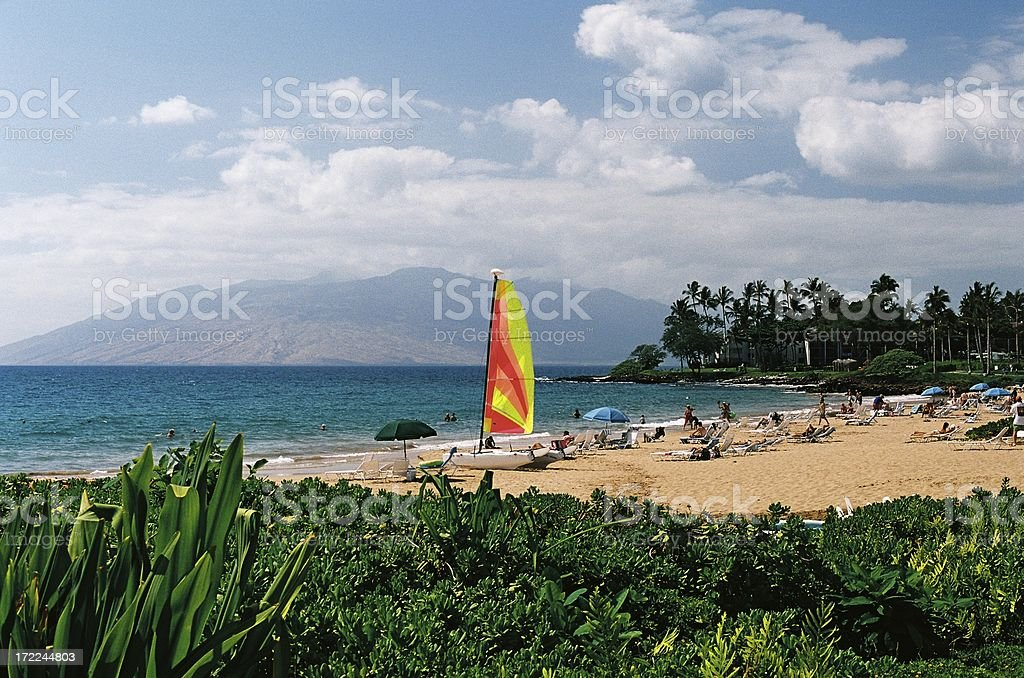 Sailboat on Hawaii beach royalty-free stock photo