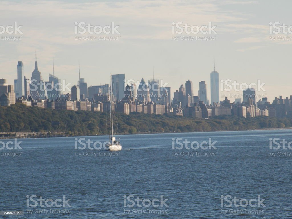 Sailboat on Hudson River Against NYC Skyline stock photo