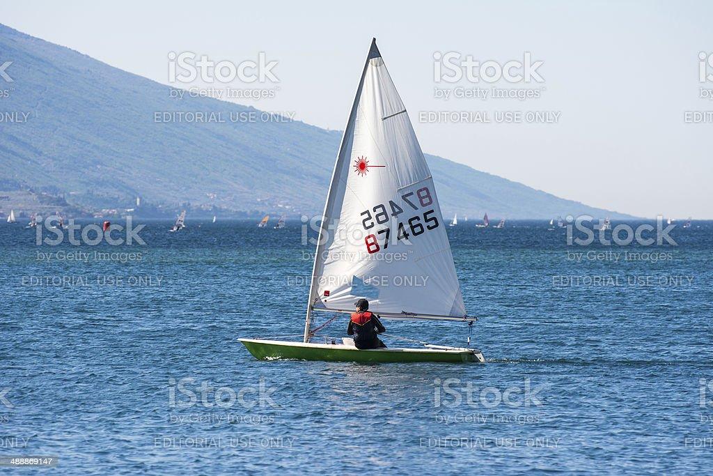 Sailboat on Lake Garda stock photo