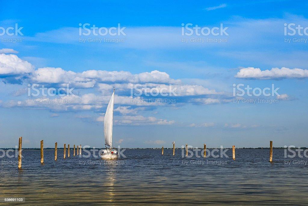Sailboat on Lake Neusiedl stock photo