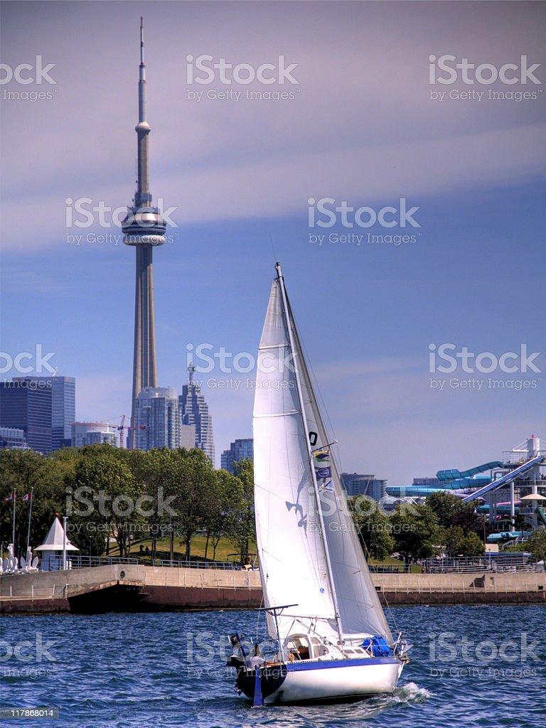 Sailboat on Lake Ontario royalty-free stock photo