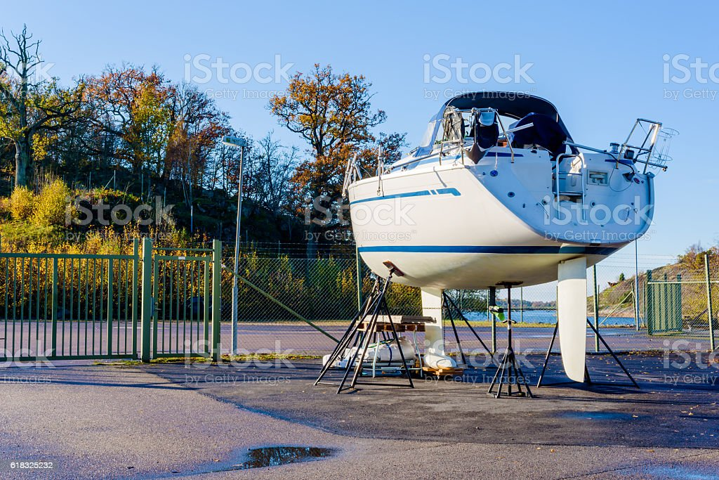 Sailboat on land stock photo