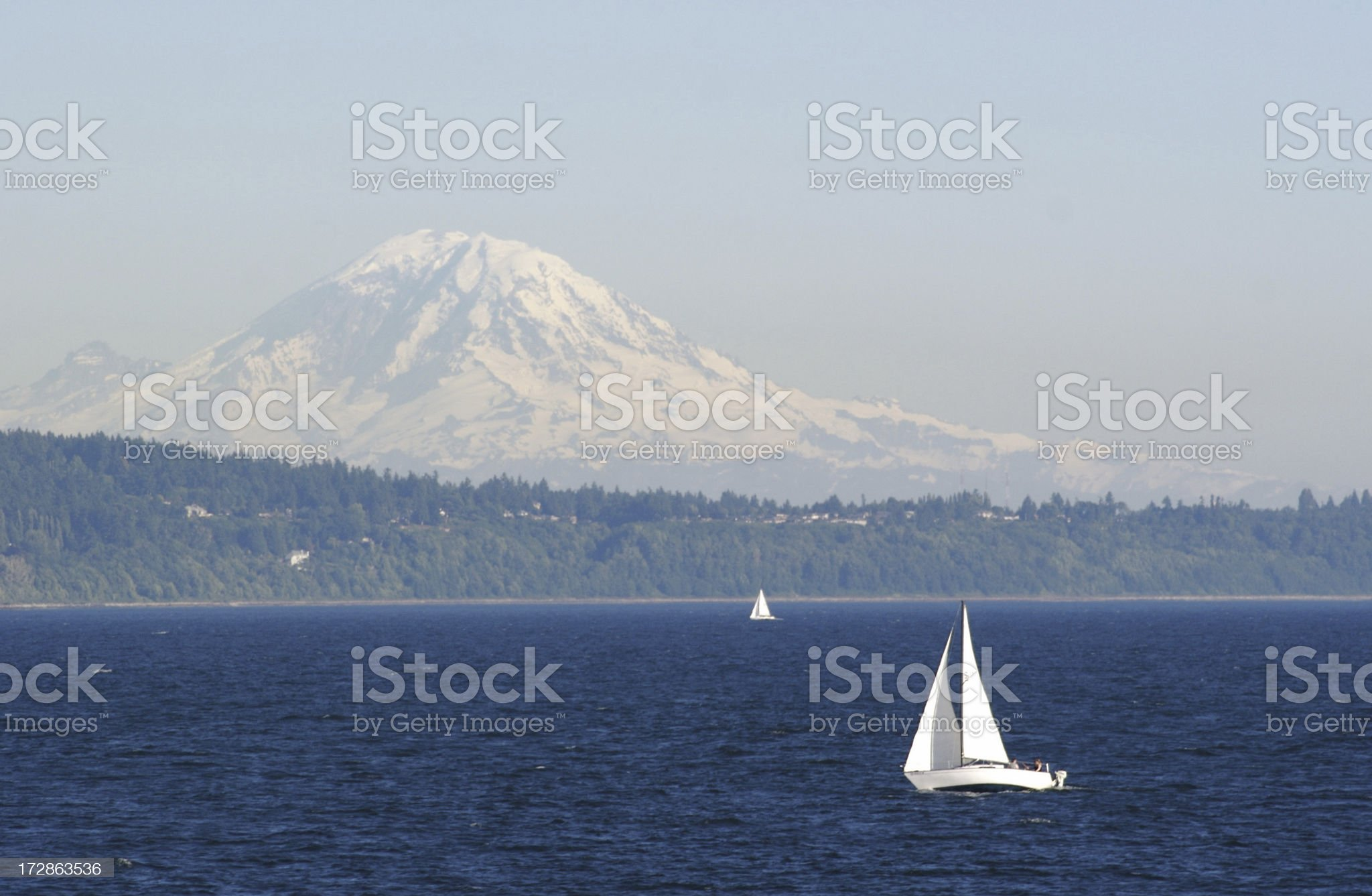 Sailboat On Puget Sound royalty-free stock photo