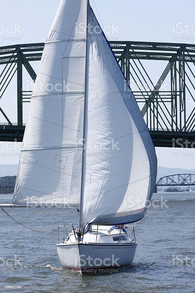 Sailboat on river stock photo
