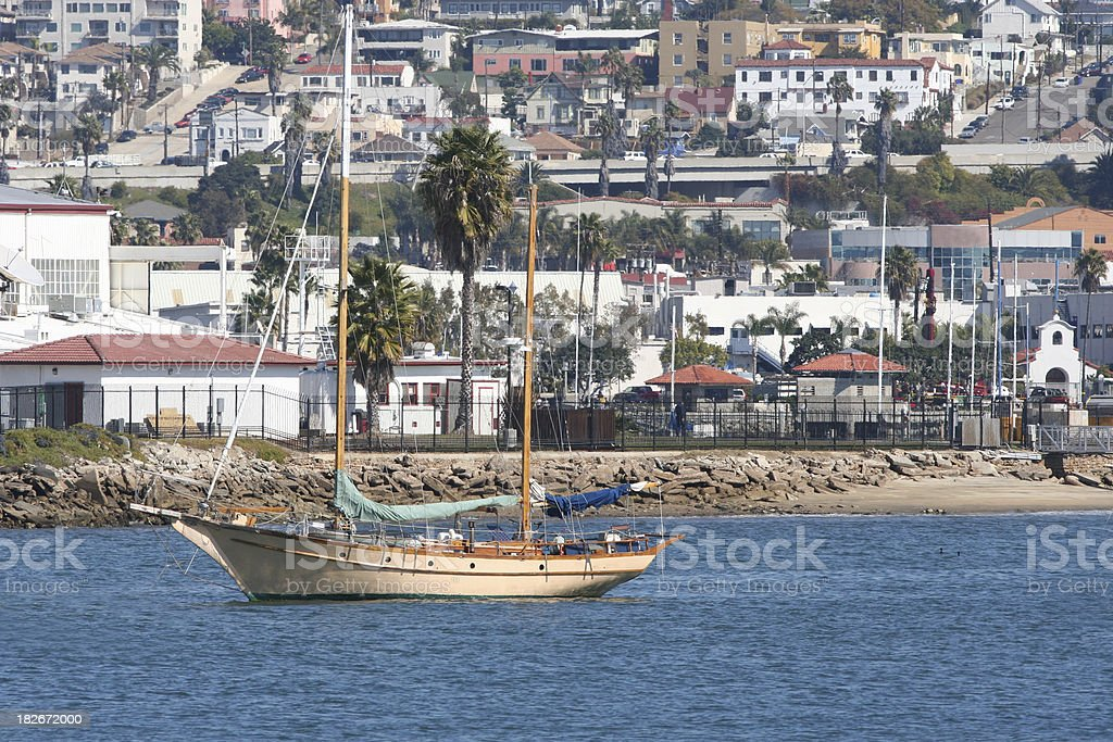 Sailboat on San Diego Bay royalty-free stock photo