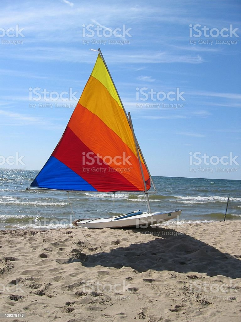 Sailboat on the Beach stock photo