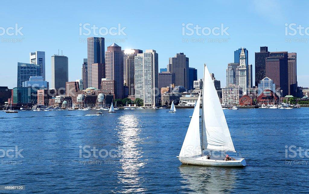 Sailboat on the Boston Harbor stock photo