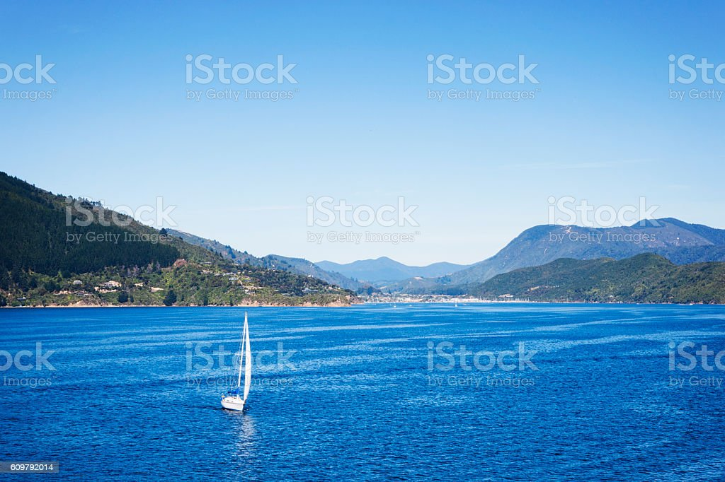 Sailboat on the Cook Strait near Picton, New Zealand stock photo