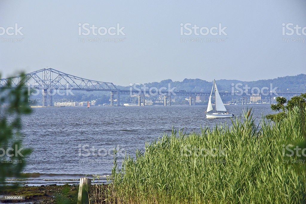 sailboat on the hudson river stock photo