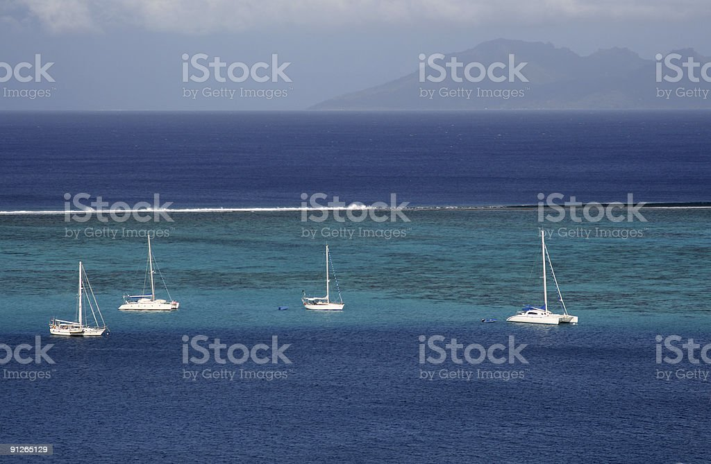sailboat on the lagoon royalty-free stock photo