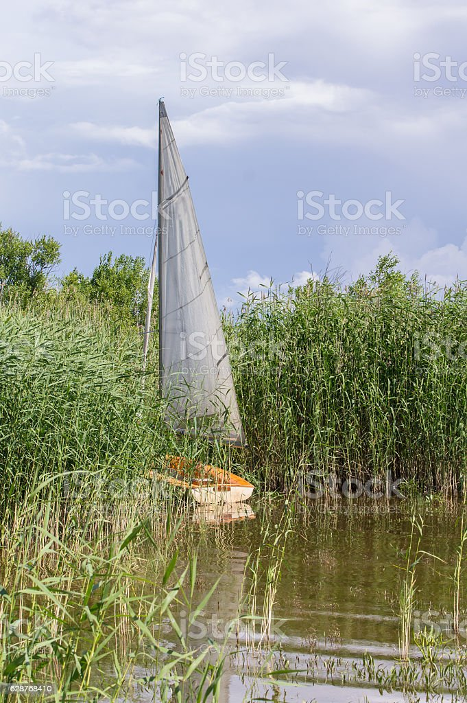 Sailboat on the shore, surrounded by green reed, blue sky. stock photo