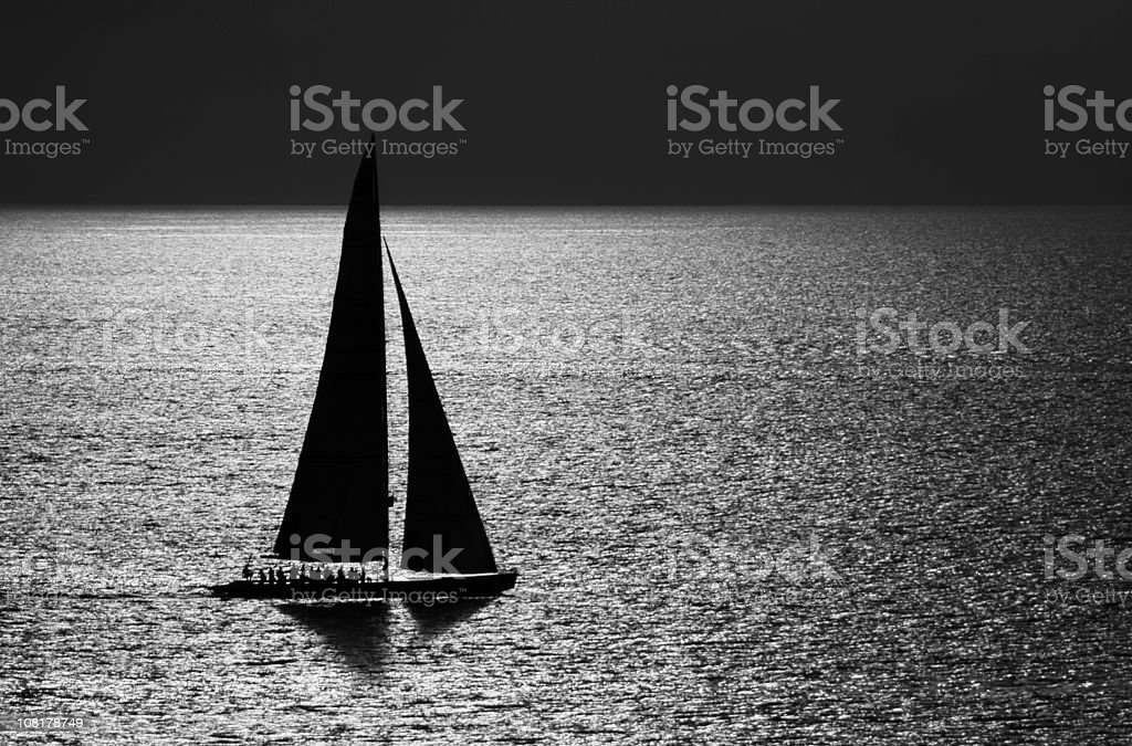 Sailboat on Water, Black and White royalty-free stock photo