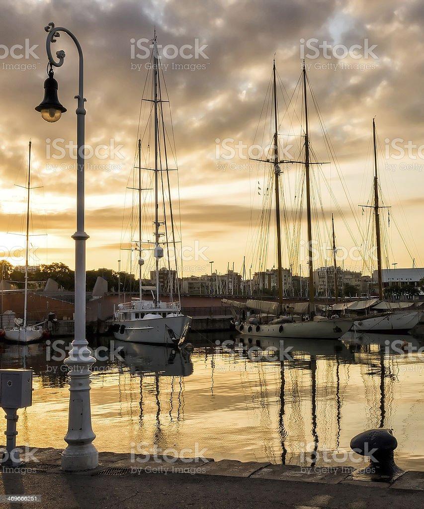sailboat port stock photo